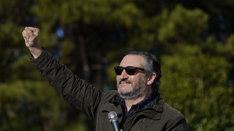 Sen. Ted Cruz, R-Texas, greets a crowd before he speaks at a campaign rally for Sen. Kelly...