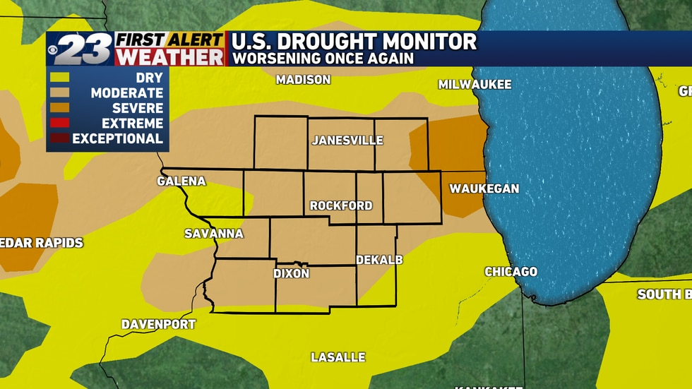 Just about the entire area's under a Moderate Drought, with Severe Drought beginning to show up...