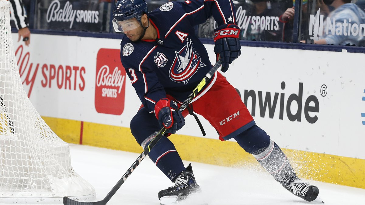 FILE - In this May 3, 2021, file photo, Columbus Blue Jackets' Seth Jones plays against the...