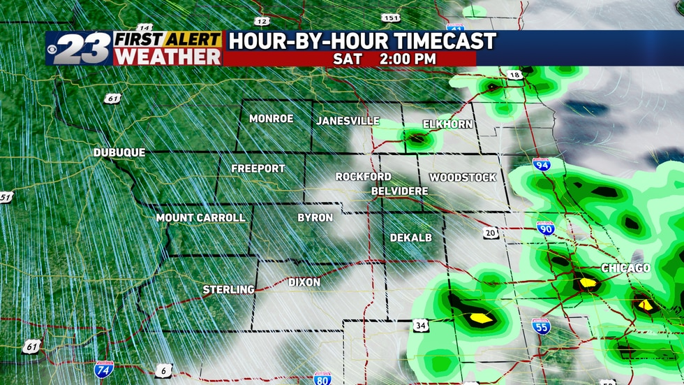 Additional scattered showers and storms are possible on Saturday, as a cold front moves through...