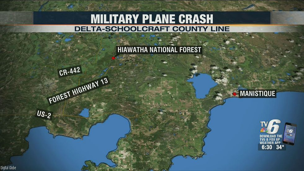 The area where an F-16 crashed Dec. 8, 2020.