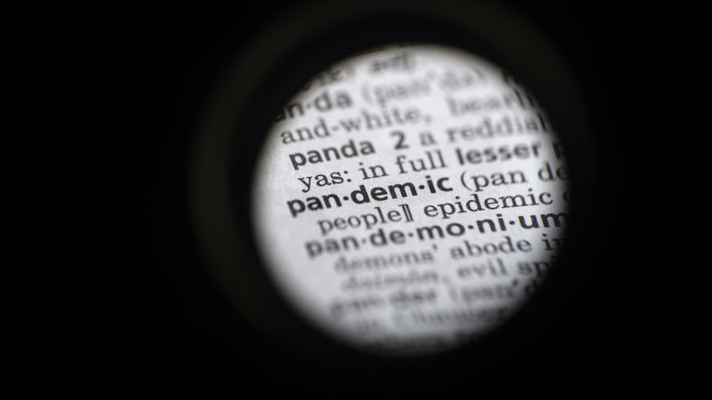 "In this Saturday, Nov. 21, 2020 photo taken through a camera lens, the word ""pandemic"" is seen..."