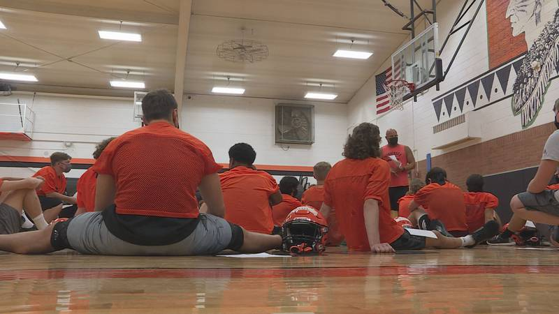 A tornado warning across much of the Stateline kept the Indians in the gym, but many on the...