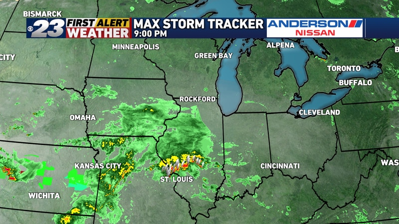 Showers appear to be quickly approaching Sunday evening, though most of this will stay south of...