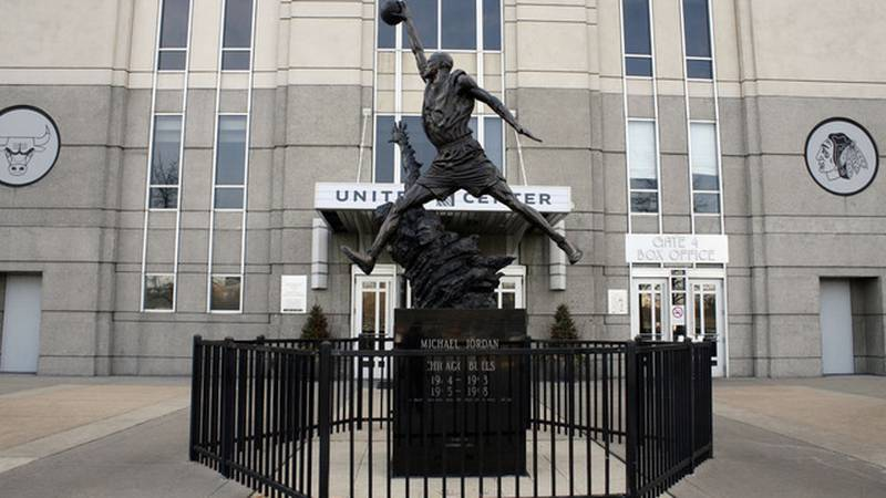 FILE - In this Feb. 28, 2012, file photo, a statue of former Chicago Bulls great Michael Jordan...