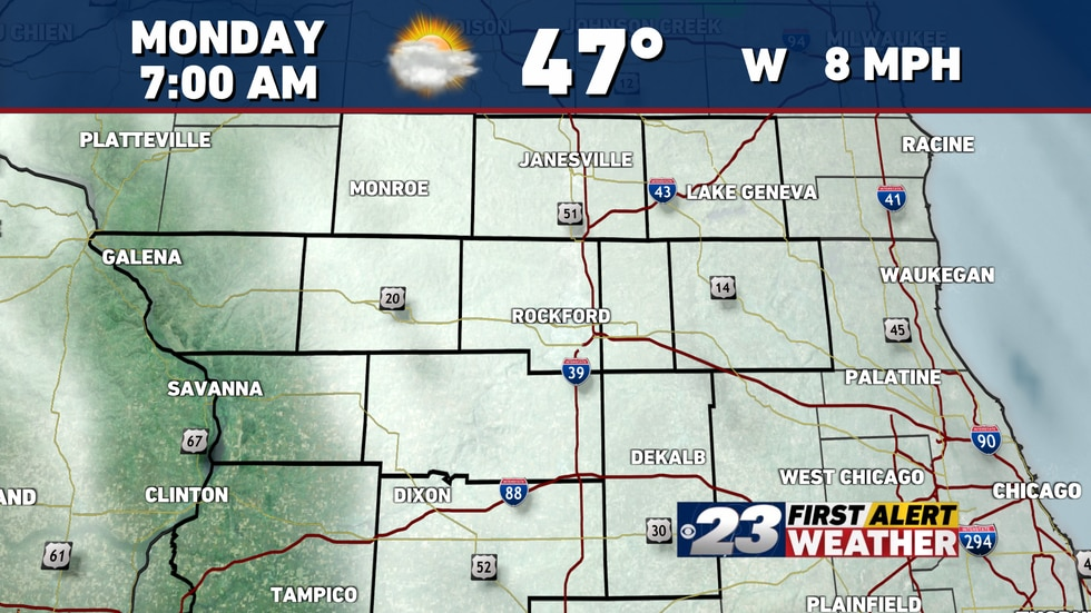 We'll keep cloudiness around early on in the day Monday.
