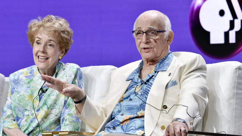 Actors Gavin MacLeod, right, and Georgia Engel take part in a panel discussion on the PBS...