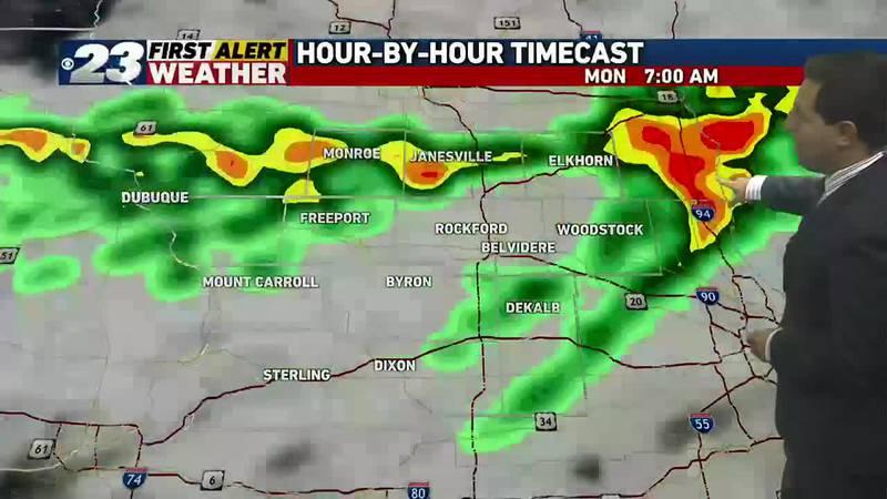 Rain chances Monday