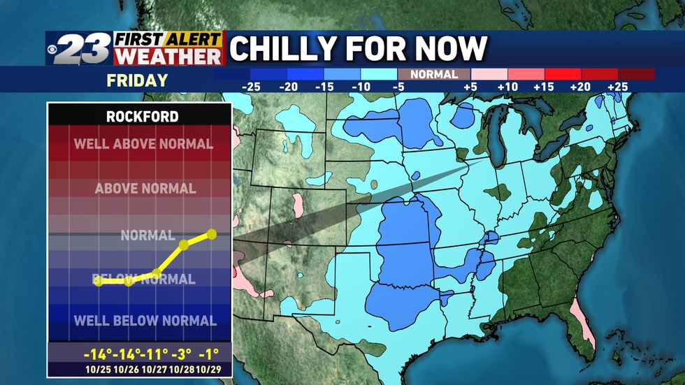 The chill will gradually east going into later next week.
