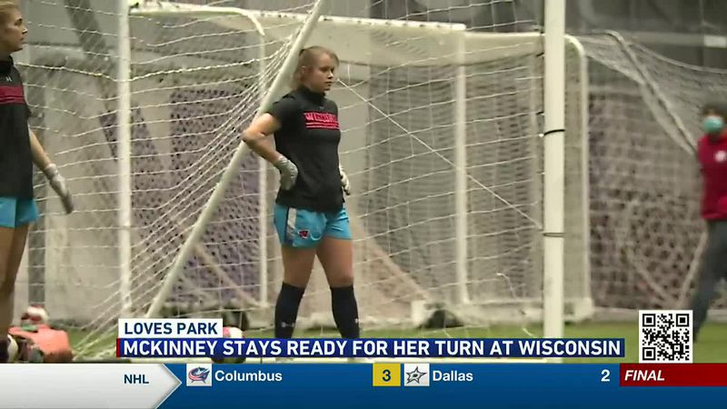 Erin McKinney waits for her opportunity as goalkeeper at Wisconsin. The Belvidere North grad is...