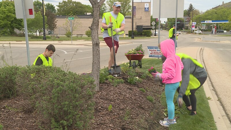 A busy roundabout in Winnebago County get a little more colorful after volunteers plant...