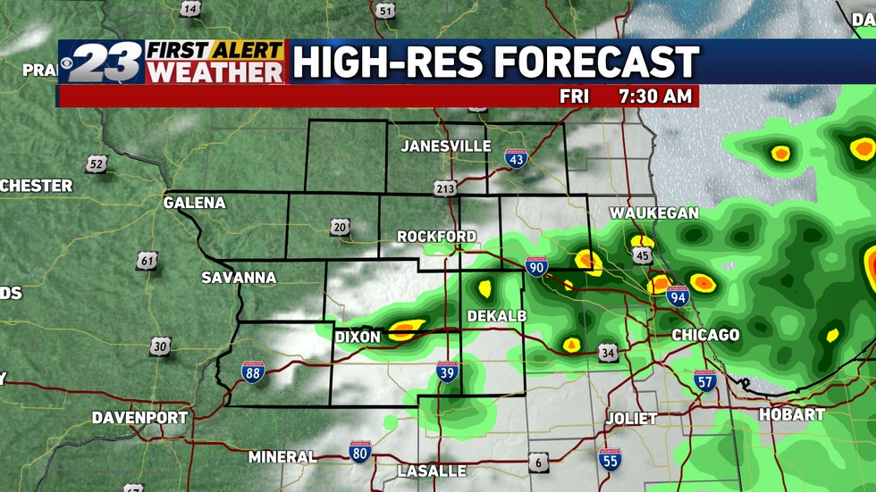 Storms will gradually exit early Friday morning.