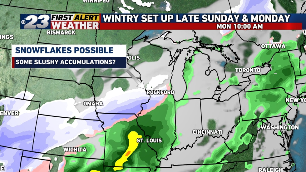 A few areas could also see a rain/snow mix overnight Sunday into Monday, but accumulating...