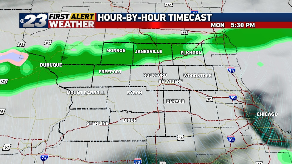 A cold front will move through Monday morning with precipitation arriving at night.