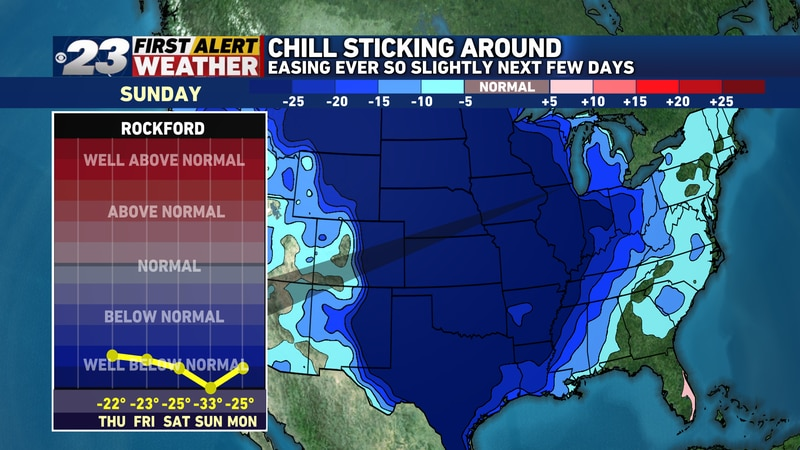 Temperatures from Saturday through Monday will be at least 25° below normal. Sunday's high is...