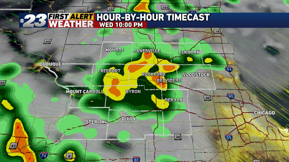 Showers and thunderstorms are to arrive late Wednesday evening, likely weakening as they do so.